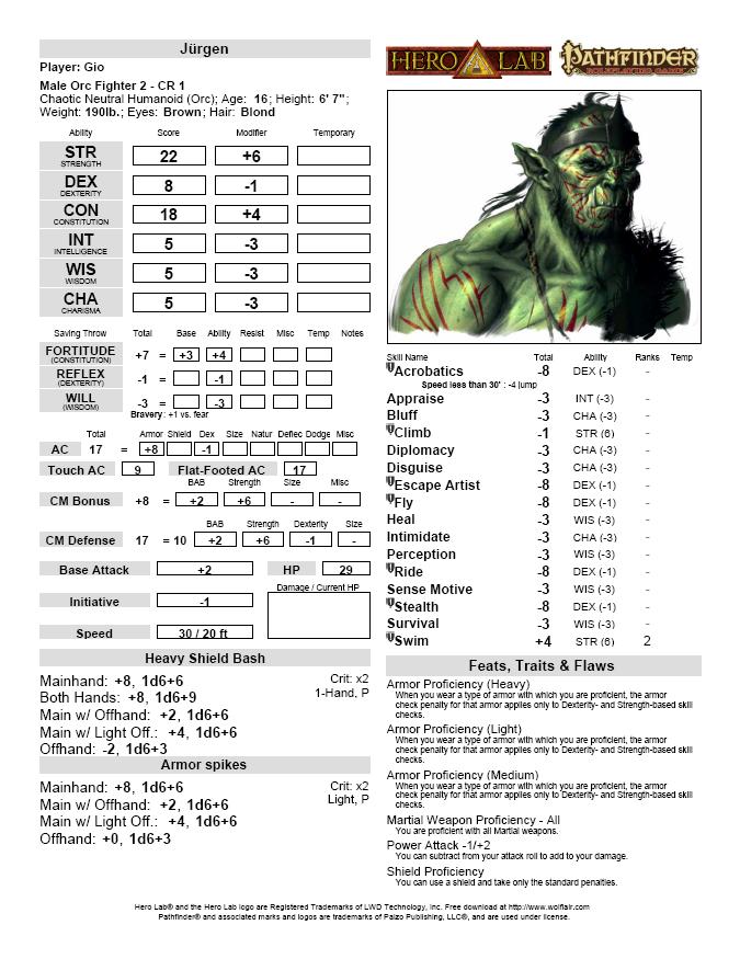 pathfinder npc character sheet pdf
