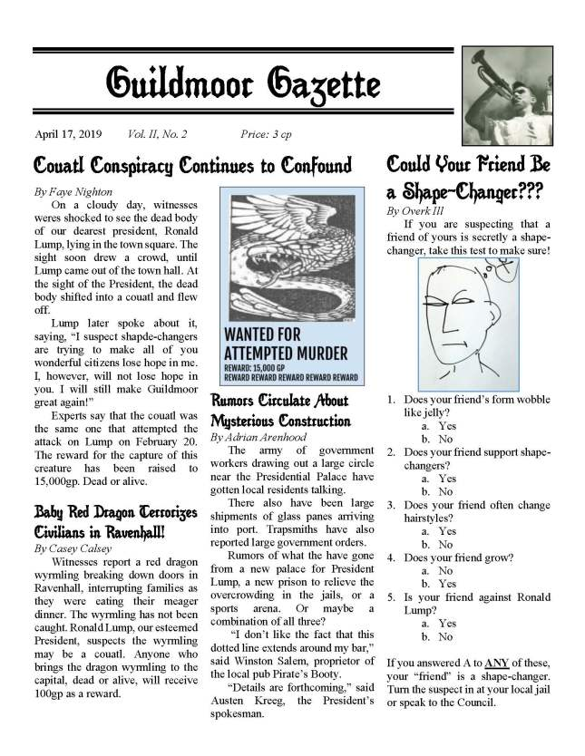 Guildmoor Gazette #5: Couatl Conspiracy Continues to Confound